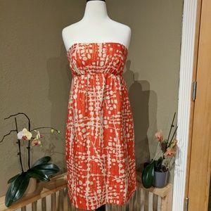 Shoshanna metallic gold and orange strapless dress